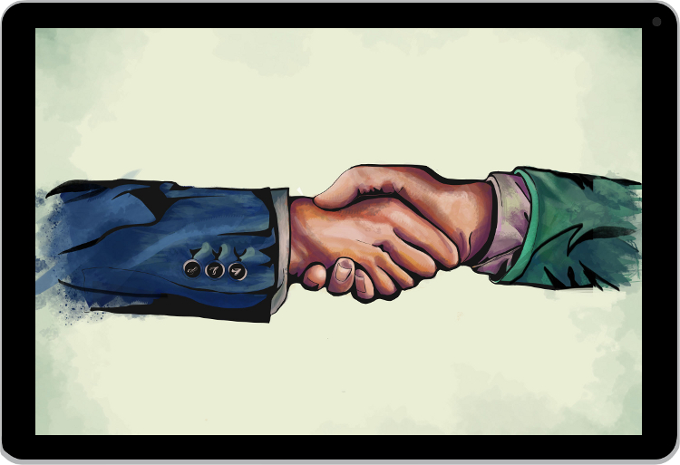 Painting of shaking hands